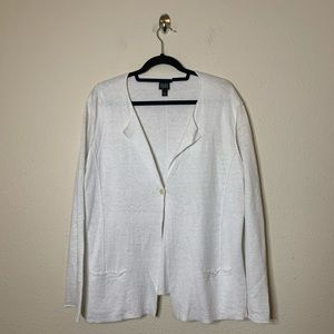 Eileen Fisher White Linen Button Cardigan Sweater
